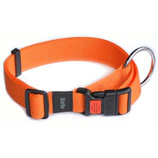 Collier-orange-reglable-en-nylon-avec-anneau-pour-chien-zoom